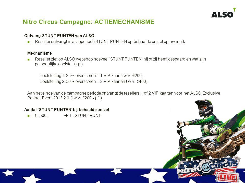 Nitro Circus Campagne: ACTIEMECHANISME Ontvang STUNT PUNTEN van ALSO ■Reseller ontvangt in actieperiode STUNT PUNTEN op behaalde omzet op uw merk. Mec