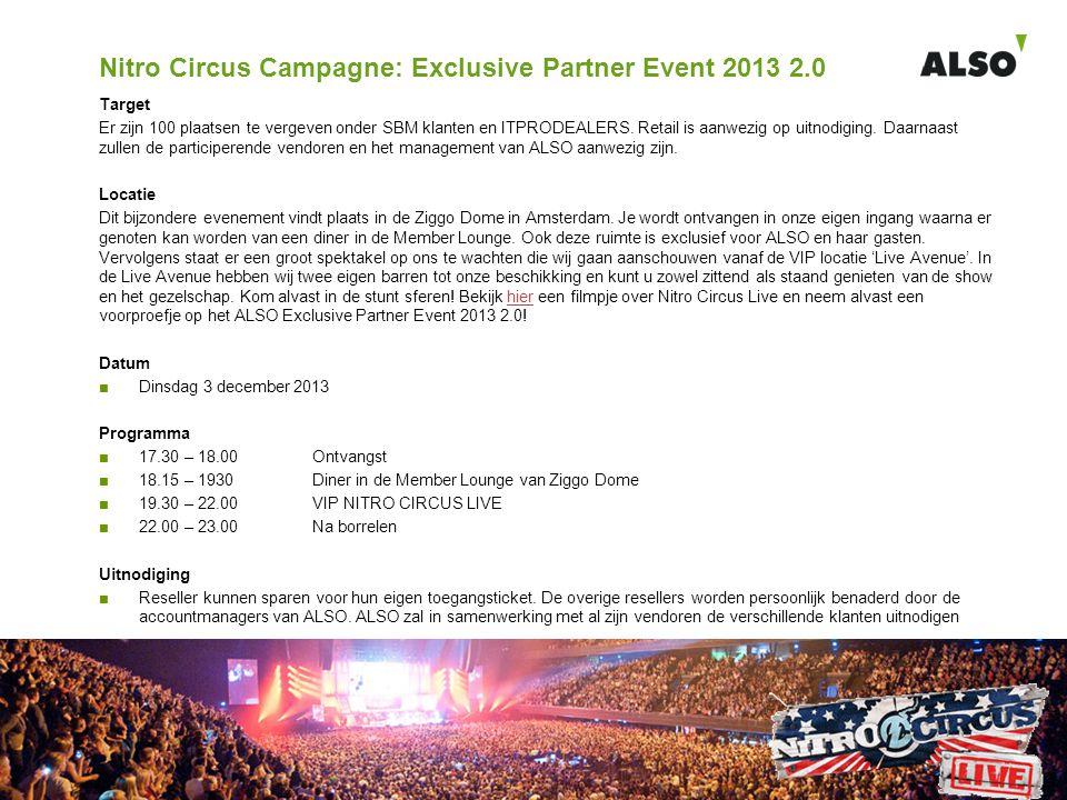 Nitro Circus Campagne: Exclusive Partner Event 2013 2.0 Target Er zijn 100 plaatsen te vergeven onder SBM klanten en ITPRODEALERS. Retail is aanwezig
