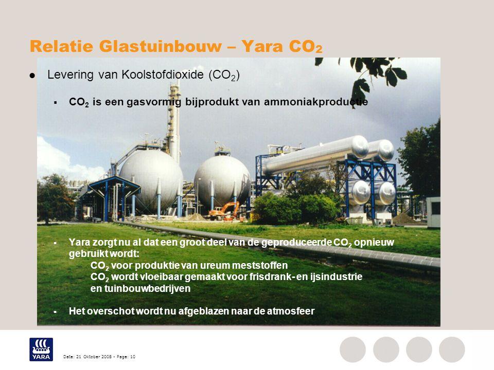 Date: 21 Oktober 2008 - Page: 10 Relatie Glastuinbouw – Yara CO 2 Levering van Koolstofdioxide (CO 2 )  CO 2 is een gasvormig bijprodukt van ammoniakproductie  Yara zorgt nu al dat een groot deel van de geproduceerde CO 2 opnieuw gebruikt wordt: – CO 2 voor produktie van ureum meststoffen – CO 2 wordt vloeibaar gemaakt voor frisdrank- en ijsindustrie en tuinbouwbedrijven  Het overschot wordt nu afgeblazen naar de atmosfeer