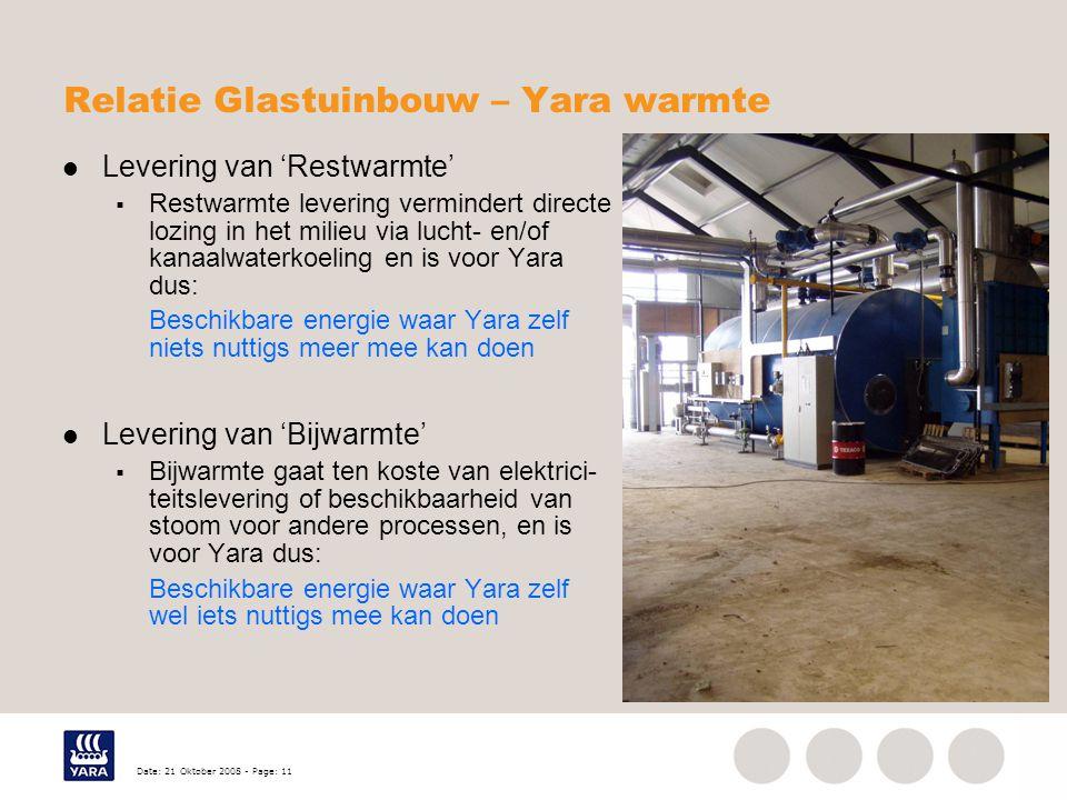Date: 21 Oktober 2008 - Page: 11 Relatie Glastuinbouw – Yara warmte Levering van 'Restwarmte'  Restwarmte levering vermindert directe lozing in het milieu via lucht- en/of kanaalwaterkoeling en is voor Yara dus: Beschikbare energie waar Yara zelf niets nuttigs meer mee kan doen Levering van 'Bijwarmte'  Bijwarmte gaat ten koste van elektrici- teitslevering of beschikbaarheid van stoom voor andere processen, en is voor Yara dus: Beschikbare energie waar Yara zelf wel iets nuttigs mee kan doen