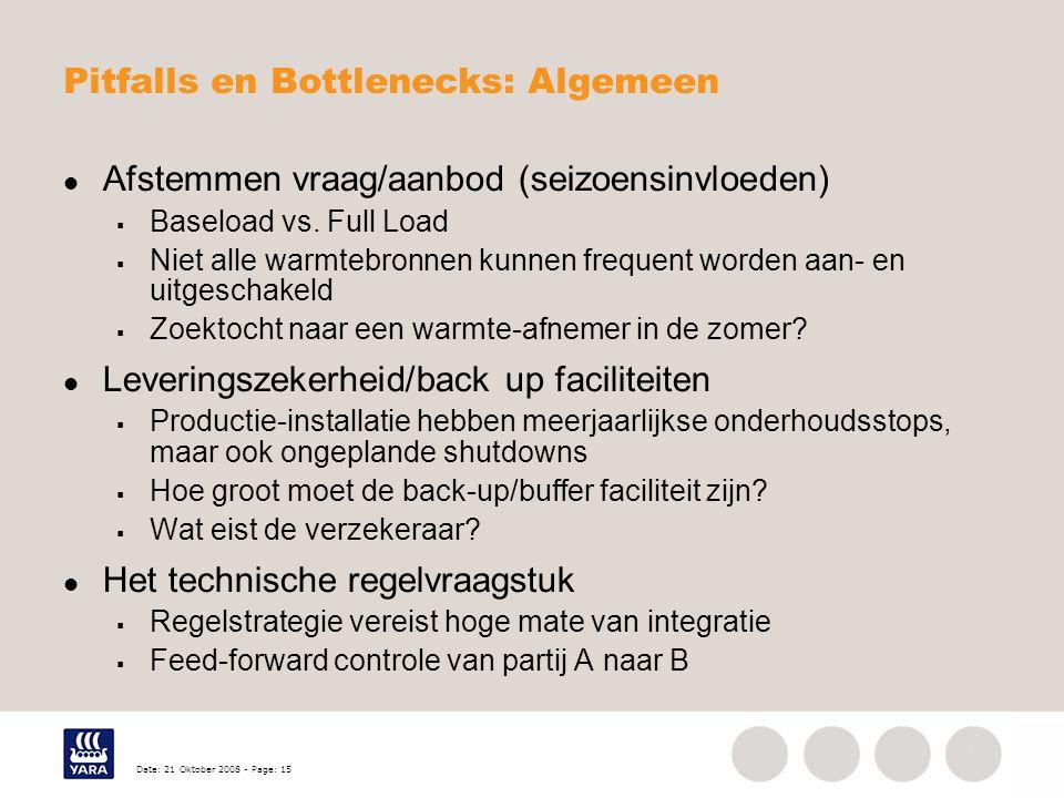 Date: 21 Oktober 2008 - Page: 15 Pitfalls en Bottlenecks: Algemeen Afstemmen vraag/aanbod (seizoensinvloeden)  Baseload vs. Full Load  Niet alle war