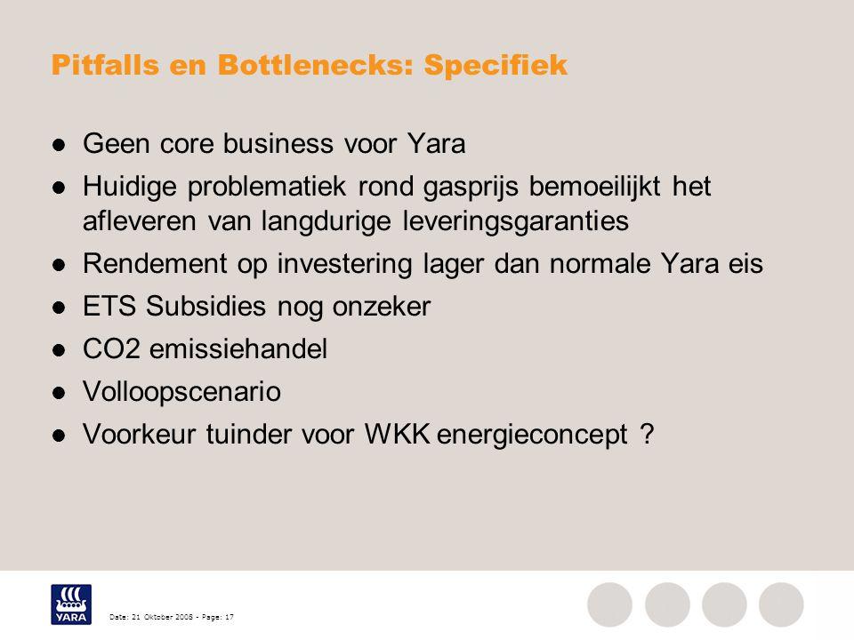 Date: 21 Oktober 2008 - Page: 17 Pitfalls en Bottlenecks: Specifiek Geen core business voor Yara Huidige problematiek rond gasprijs bemoeilijkt het af