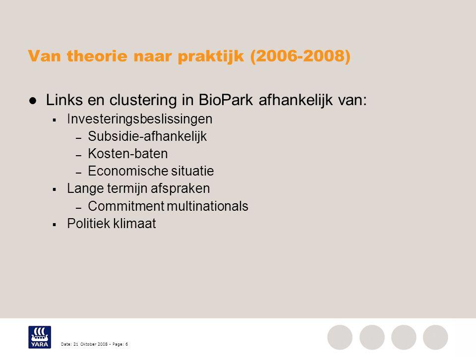 Date: 21 Oktober 2008 - Page: 6 Van theorie naar praktijk (2006-2008) Links en clustering in BioPark afhankelijk van:  Investeringsbeslissingen – Subsidie-afhankelijk – Kosten-baten – Economische situatie  Lange termijn afspraken – Commitment multinationals  Politiek klimaat