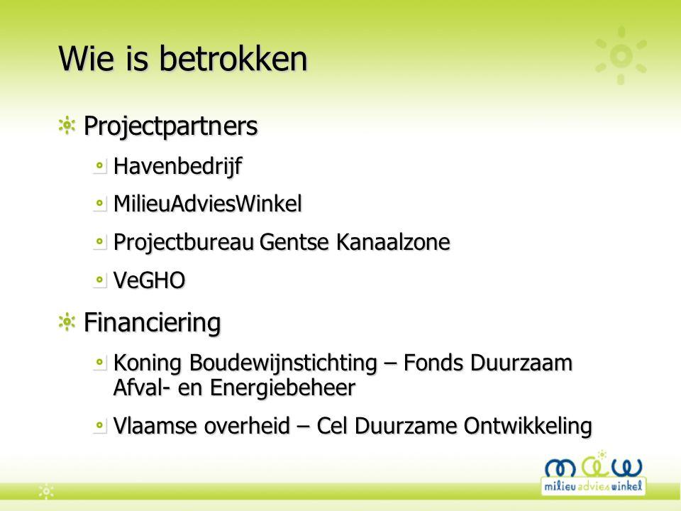 Wie is betrokken ProjectpartnersHavenbedrijfMilieuAdviesWinkel Projectbureau Gentse Kanaalzone VeGHOFinanciering Koning Boudewijnstichting – Fonds Duu