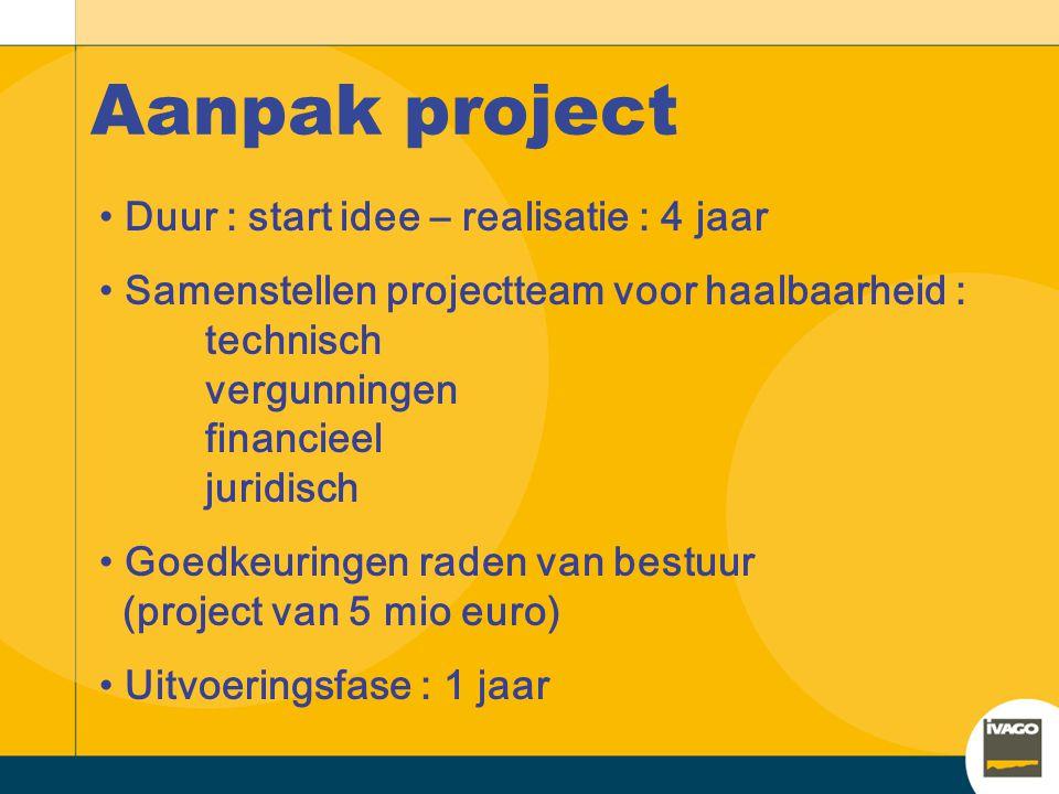 Aanpak project Duur : start idee – realisatie : 4 jaar Samenstellen projectteam voor haalbaarheid : technisch vergunningen financieel juridisch Goedkeuringen raden van bestuur (project van 5 mio euro) Uitvoeringsfase : 1 jaar