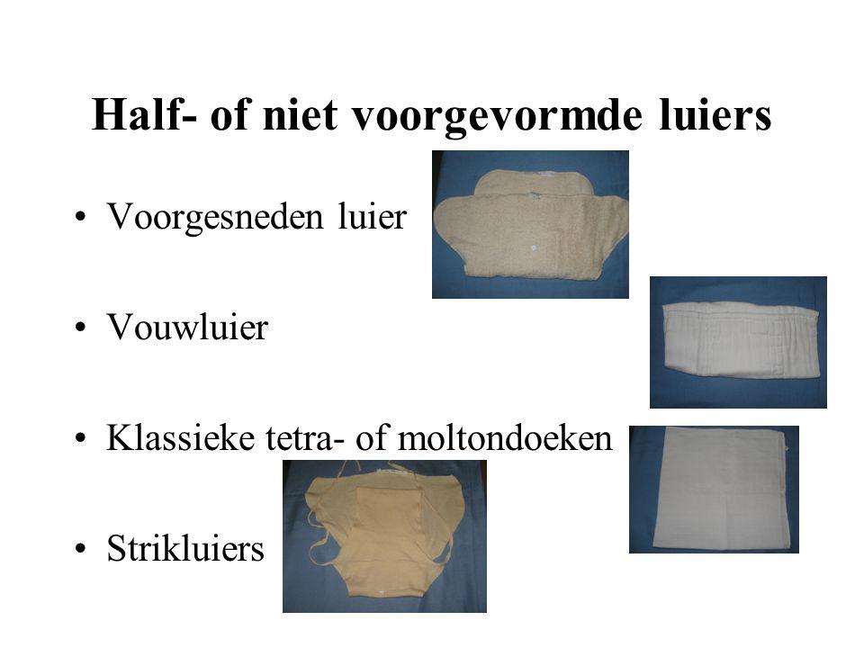 Half- of niet voorgevormde luiers Voorgesneden luier Vouwluier Klassieke tetra- of moltondoeken Strikluiers