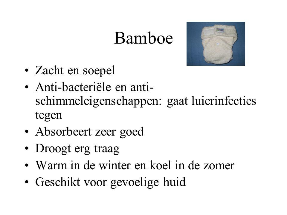 Bamboe Zacht en soepel Anti-bacteriële en anti- schimmeleigenschappen: gaat luierinfecties tegen Absorbeert zeer goed Droogt erg traag Warm in de wint