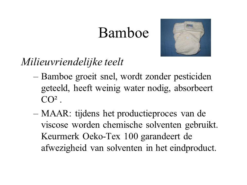 Bamboe Milieuvriendelijke teelt –Bamboe groeit snel, wordt zonder pesticiden geteeld, heeft weinig water nodig, absorbeert CO². –MAAR: tijdens het pro