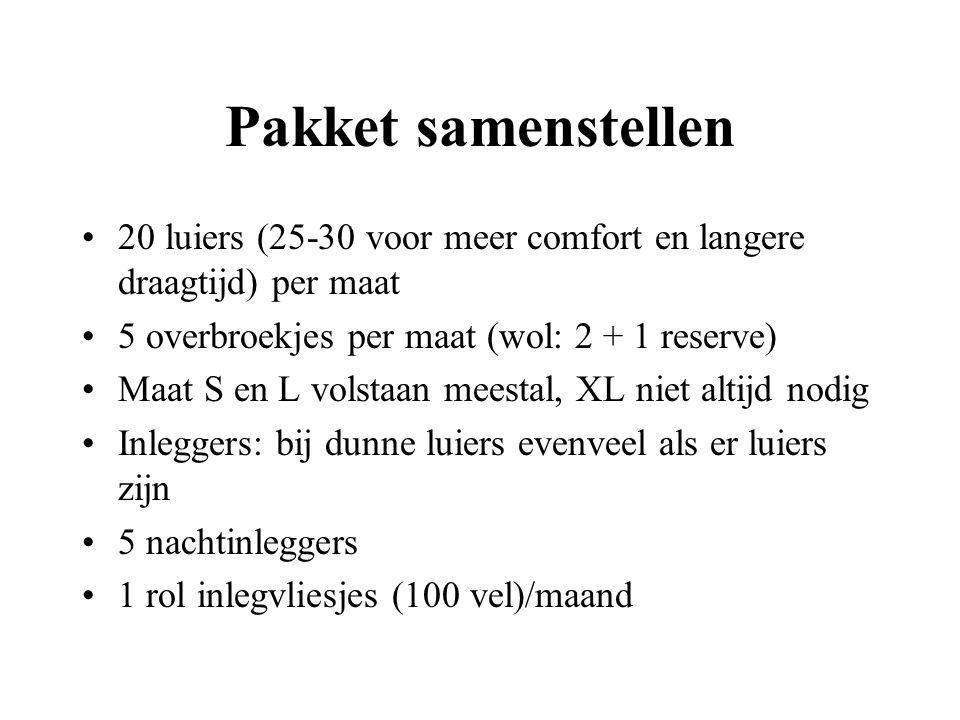 Pakket samenstellen 20 luiers (25-30 voor meer comfort en langere draagtijd) per maat 5 overbroekjes per maat (wol: 2 + 1 reserve) Maat S en L volstaa