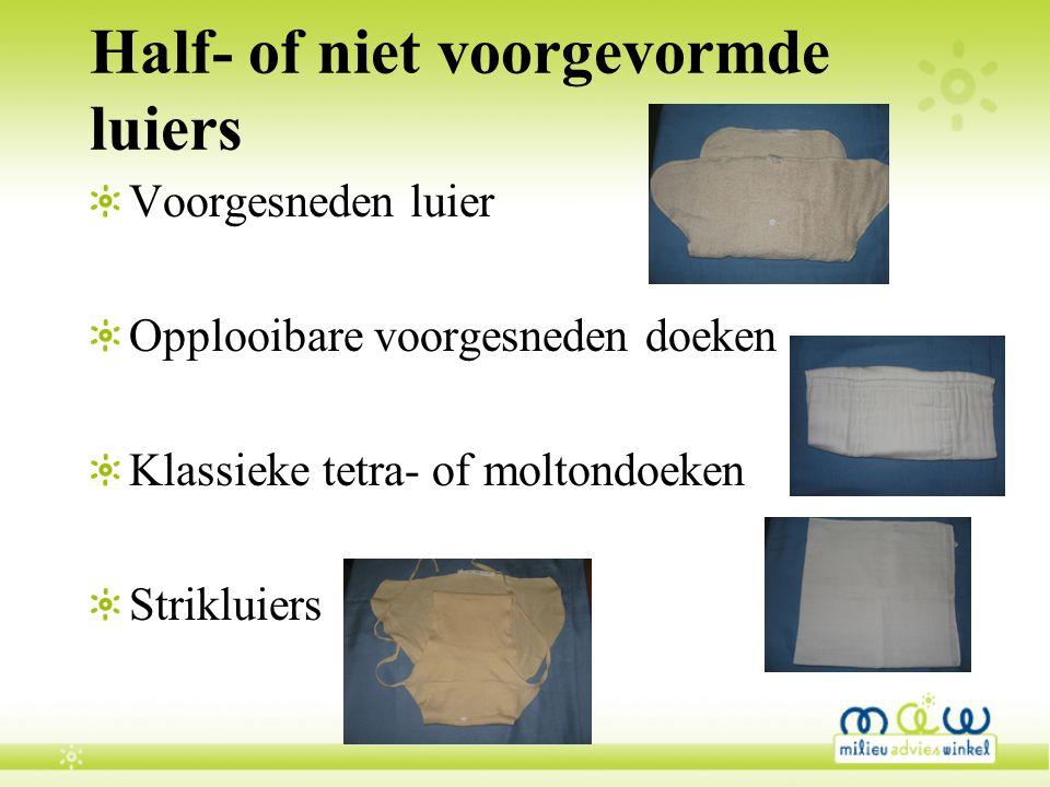 Half- of niet voorgevormde luiers Voorgesneden luier Opplooibare voorgesneden doeken Klassieke tetra- of moltondoeken Strikluiers
