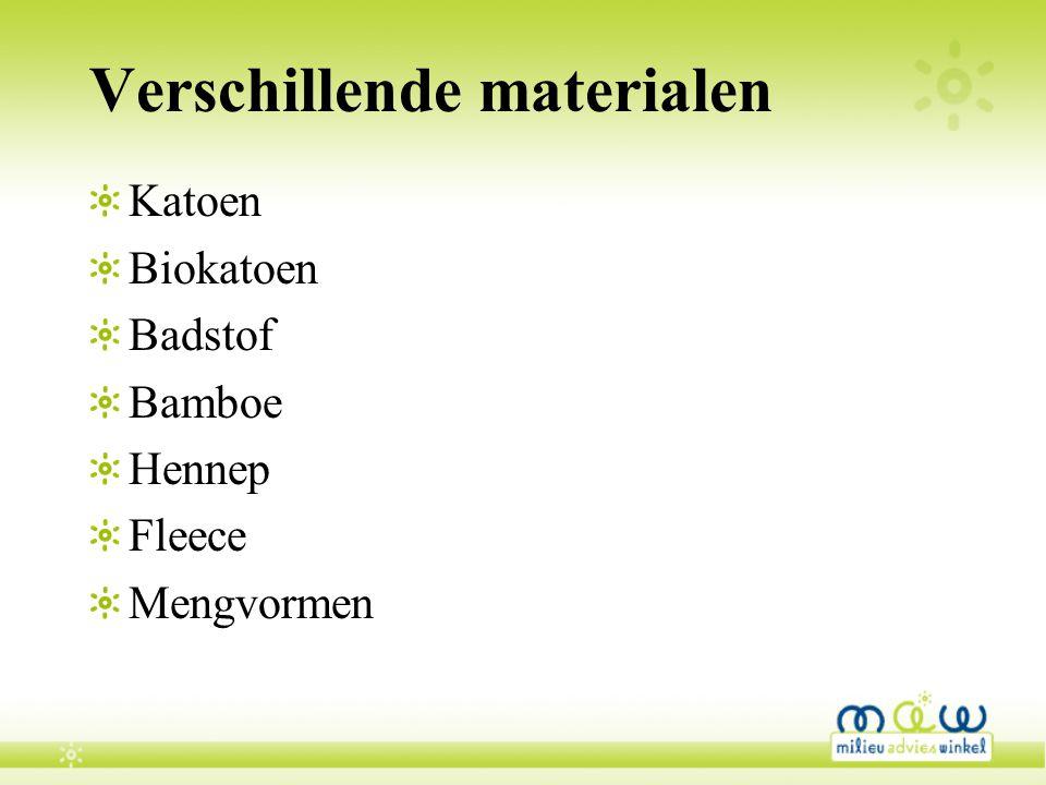 Verschillende materialen Katoen Biokatoen Badstof Bamboe Hennep Fleece Mengvormen