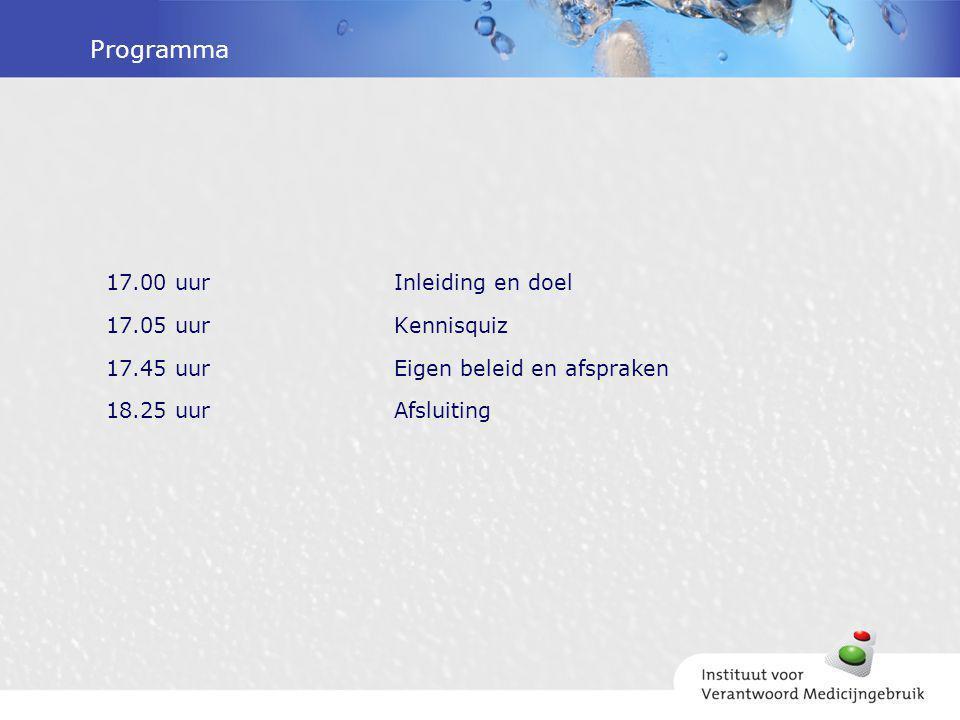 Programma 17.00 uurInleiding en doel 17.05 uurKennisquiz 17.45 uurEigen beleid en afspraken 18.25 uurAfsluiting