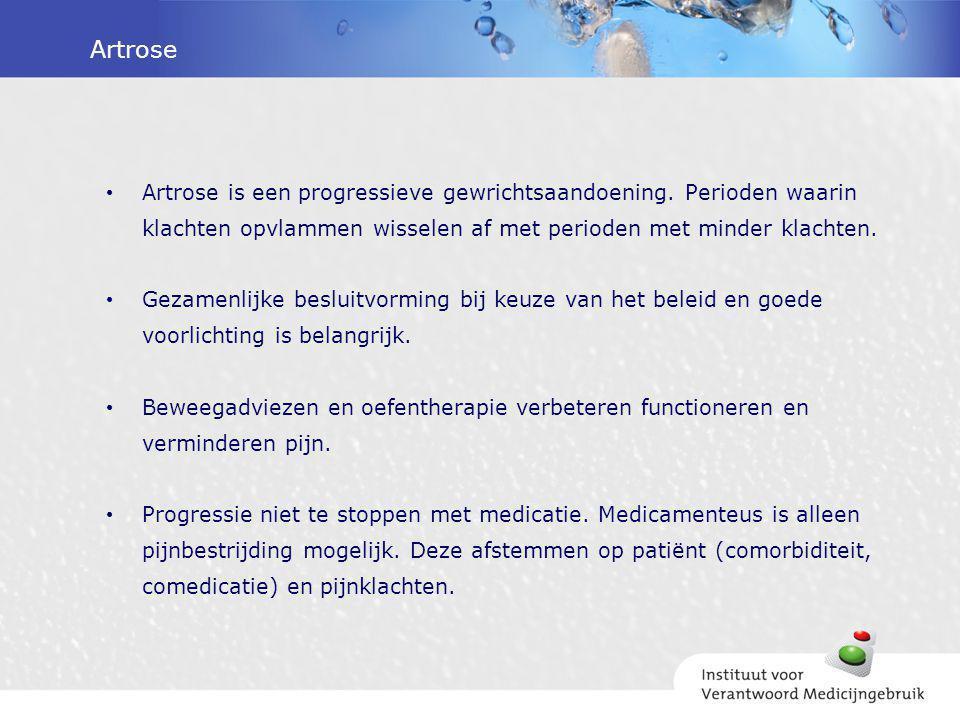 Artrose Artrose is een progressieve gewrichtsaandoening. Perioden waarin klachten opvlammen wisselen af met perioden met minder klachten. Gezamenlijke