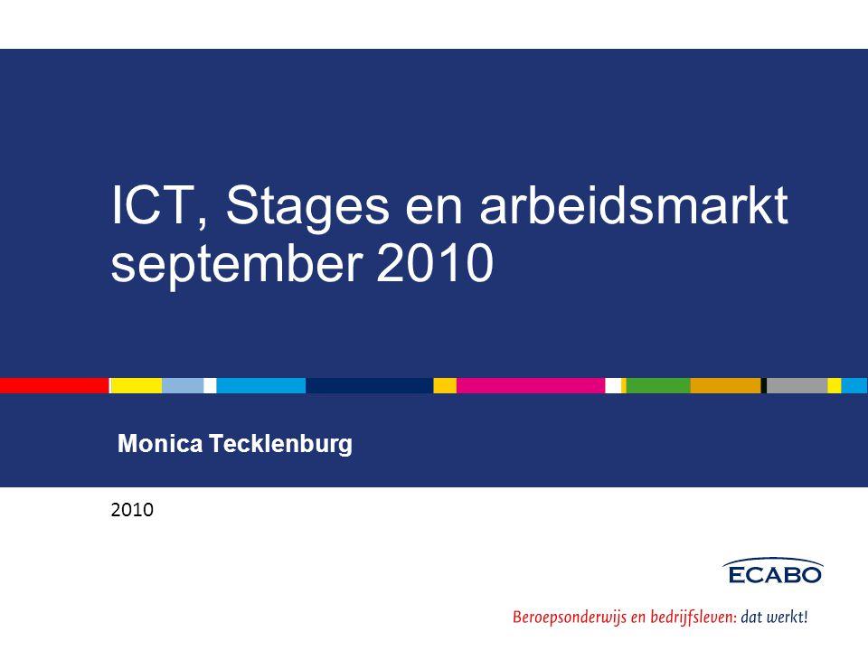 Leerbedrijven, leerplaatsen, deelnemers Aantal deelnemers ICT 20.603 Aantal deelnemers BOL 19.738 (96%) Aantal deelnemers BBL 865 (4%) Aantal leerbedrijven met erkenning ICT 9.957 Aantal geregistreerde leerplaatsen 10.292