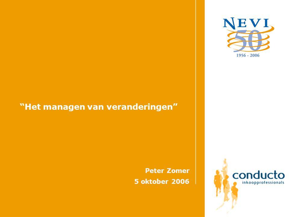 Het managen van veranderingen Peter Zomer 5 oktober 2006