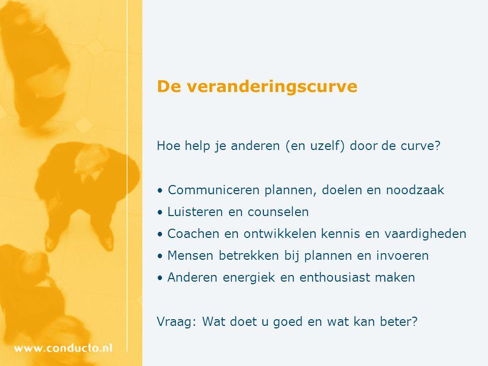 De veranderingscurve Hoe help je anderen (en uzelf) door de curve? Communiceren plannen, doelen en noodzaak Luisteren en counselen Coachen en ontwikke