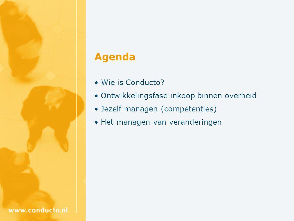 Agenda Wie is Conducto? Ontwikkelingsfase inkoop binnen overheid Jezelf managen (competenties) Het managen van veranderingen