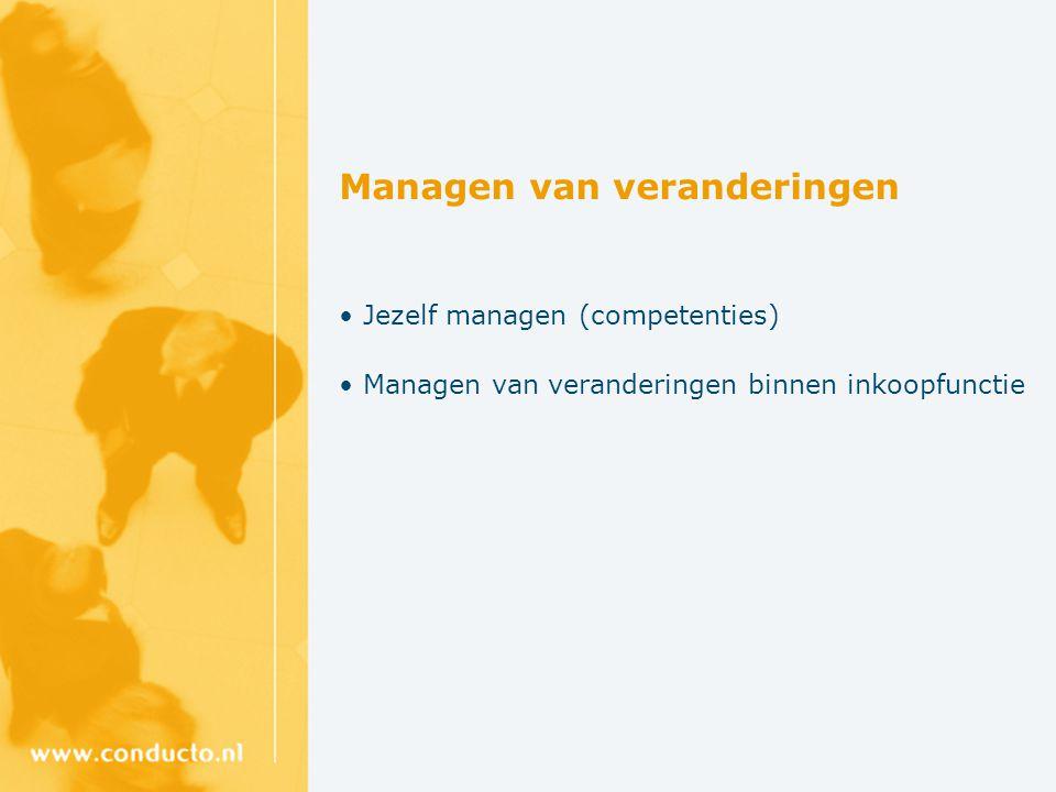 Managen van veranderingen Jezelf managen (competenties) Managen van veranderingen binnen inkoopfunctie