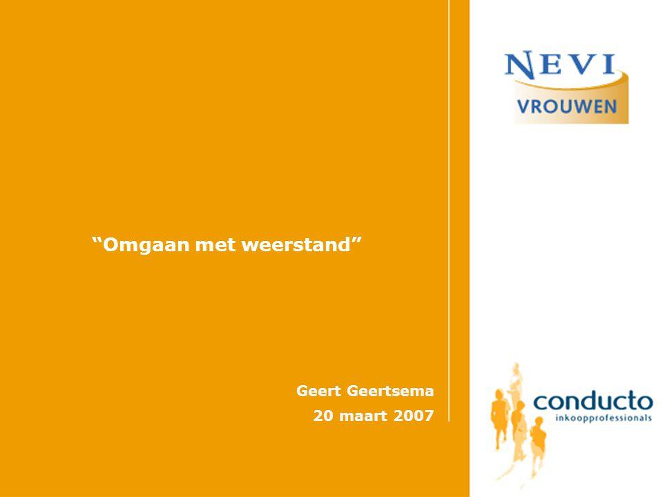 Omgaan met weerstand Geert Geertsema 20 maart 2007