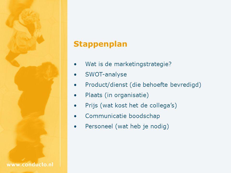 Stappenplan Wat is de marketingstrategie.