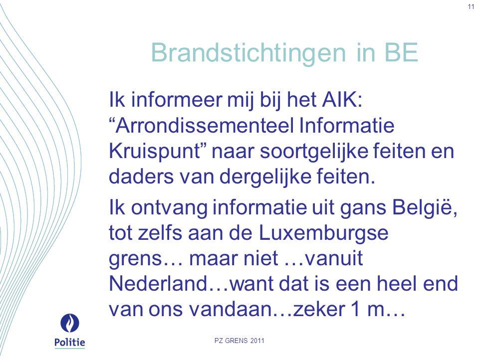 """Brandstichtingen in BE Ik informeer mij bij het AIK: """"Arrondissementeel Informatie Kruispunt"""" naar soortgelijke feiten en daders van dergelijke feiten"""