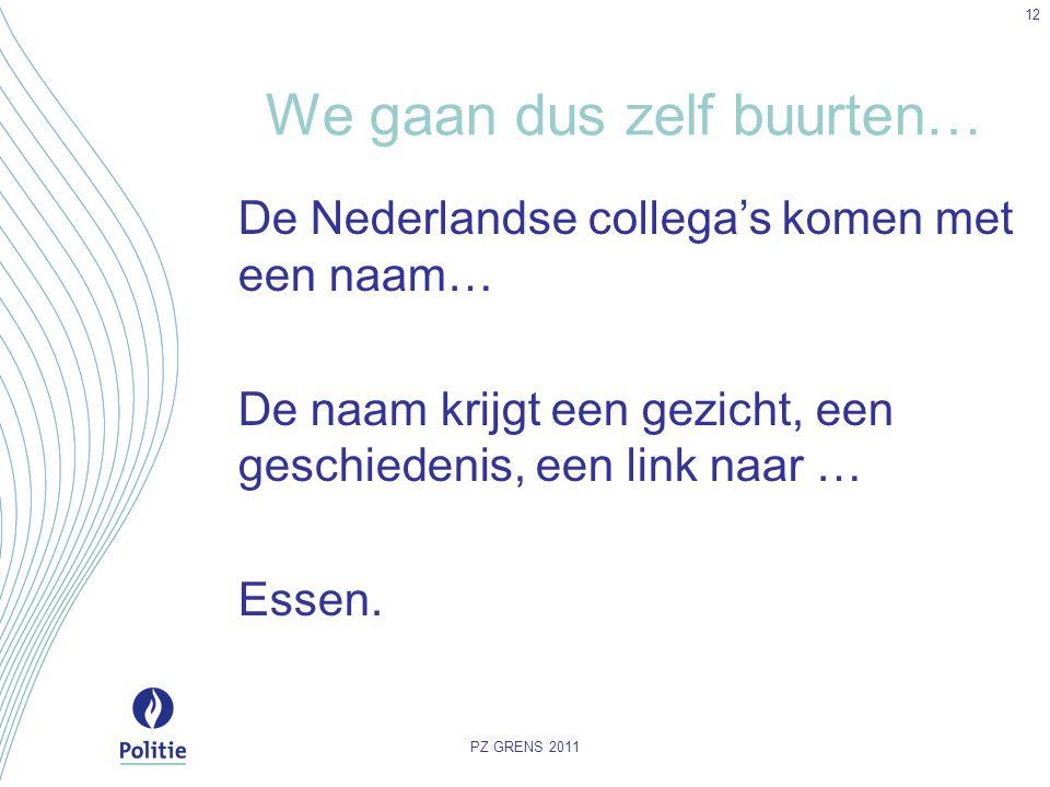 We gaan dus zelf buurten… De Nederlandse collega's komen met een naam… De naam krijgt een gezicht, een geschiedenis, een link naar … Essen. PZ GRENS 2