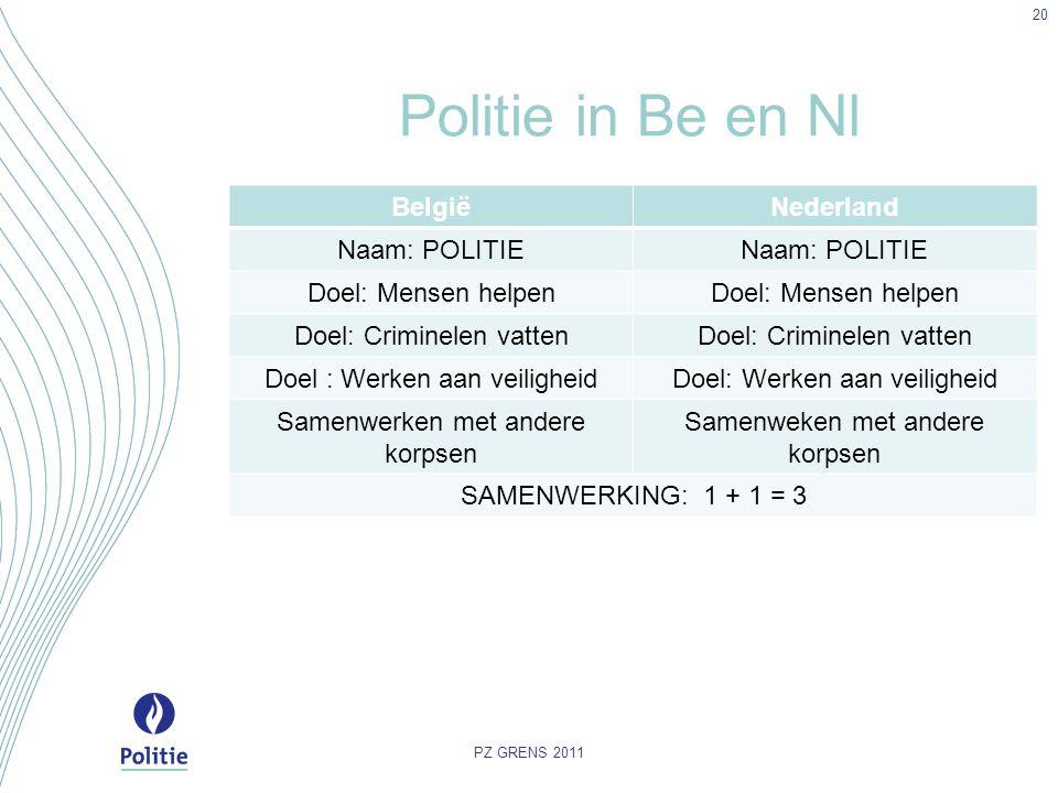 Politie in Be en Nl BelgiëNederland Naam: POLITIE Doel: Mensen helpen Doel: Criminelen vatten Doel : Werken aan veiligheid Samenwerken met andere korp