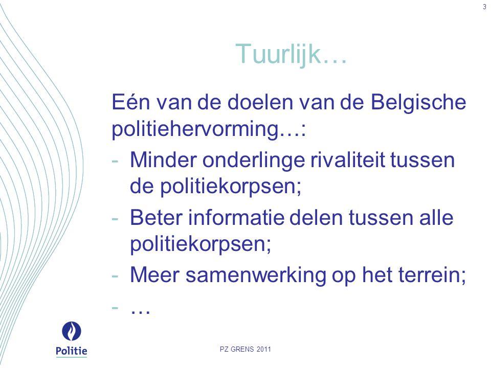 Tuurlijk… Eén van de doelen van de Belgische politiehervorming…: -Minder onderlinge rivaliteit tussen de politiekorpsen; -Beter informatie delen tusse