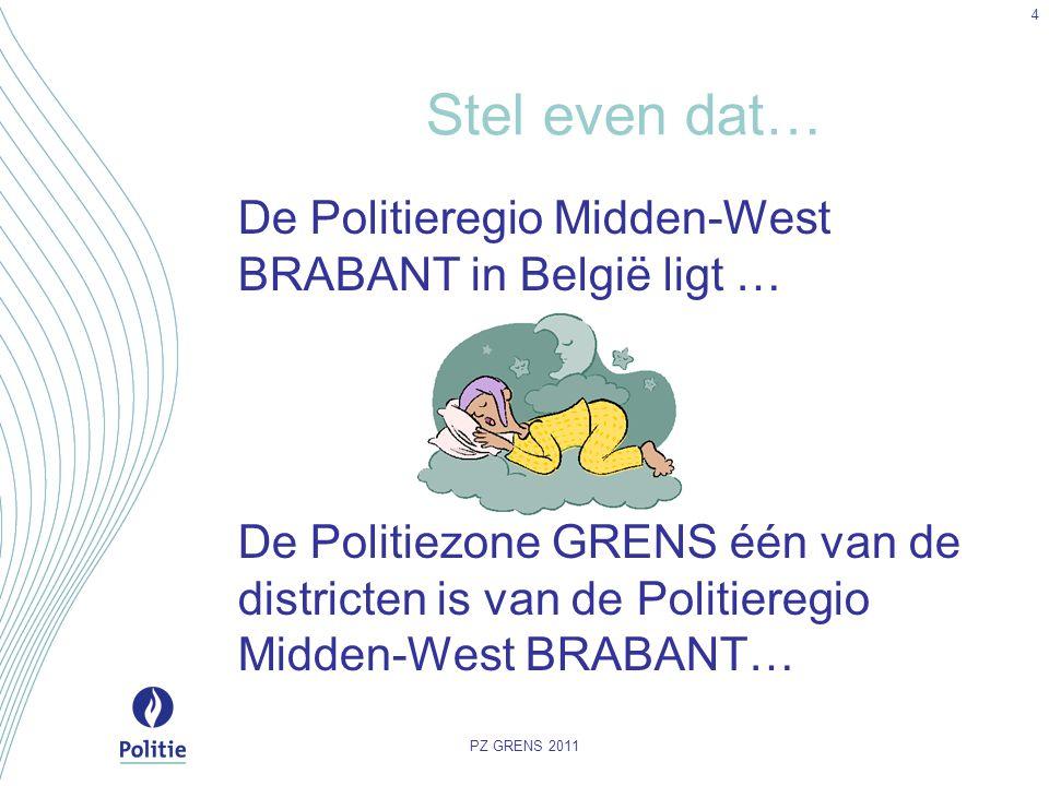 Stel even dat… De Politieregio Midden-West BRABANT in België ligt … De Politiezone GRENS één van de districten is van de Politieregio Midden-West BRAB