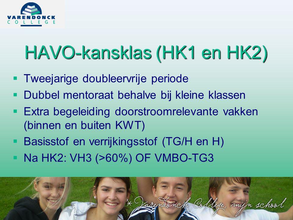 HAVO-kansklas (HK1 en HK2)   Tweejarige doubleervrije periode   Dubbel mentoraat behalve bij kleine klassen   Extra begeleiding doorstroomrelevante vakken (binnen en buiten KWT)   Basisstof en verrijkingsstof (TG/H en H)   Na HK2: VH3 (>60%) OF VMBO-TG3