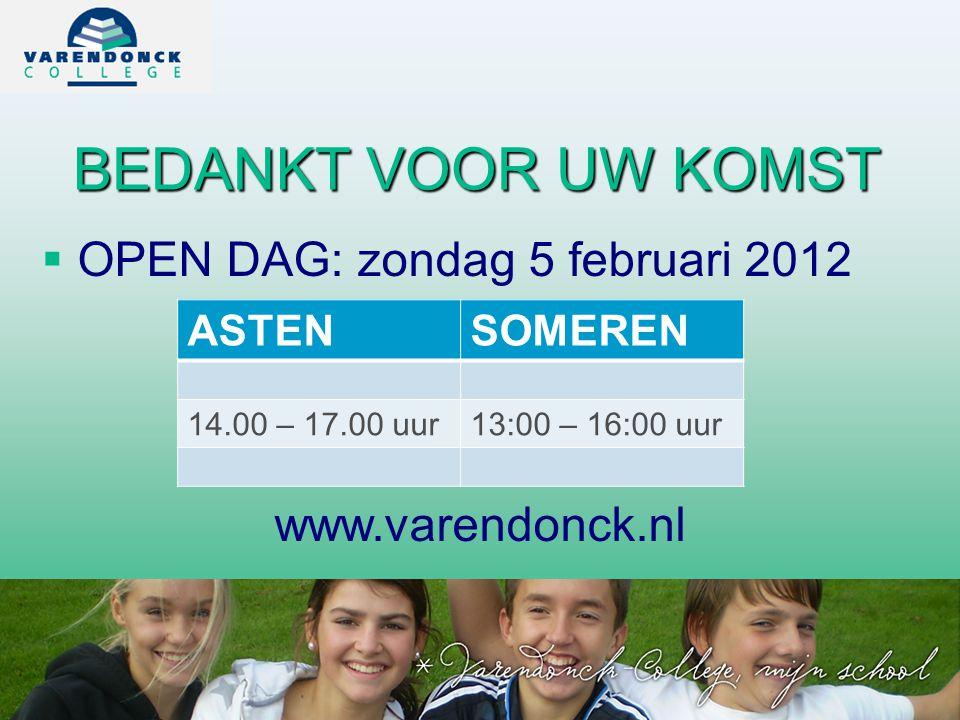 BEDANKT VOOR UW KOMST  OPEN DAG: zondag 5 februari 2012 www.varendonck.nl ASTENSOMEREN 14.00 – 17.00 uur13:00 – 16:00 uur