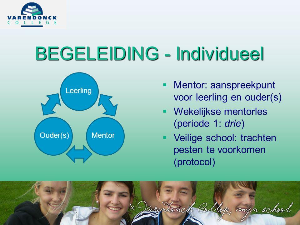 BEGELEIDING - Individueel  Mentor: aanspreekpunt voor leerling en ouder(s)  Wekelijkse mentorles (periode 1: drie)  Veilige school: trachten pesten te voorkomen (protocol) Leerling Ouder(s)Mentor