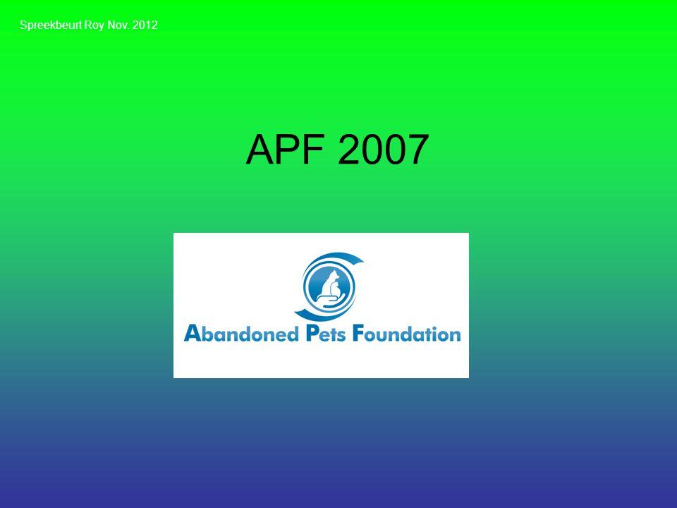 APF 2007 Spreekbeurt Roy Nov. 2012