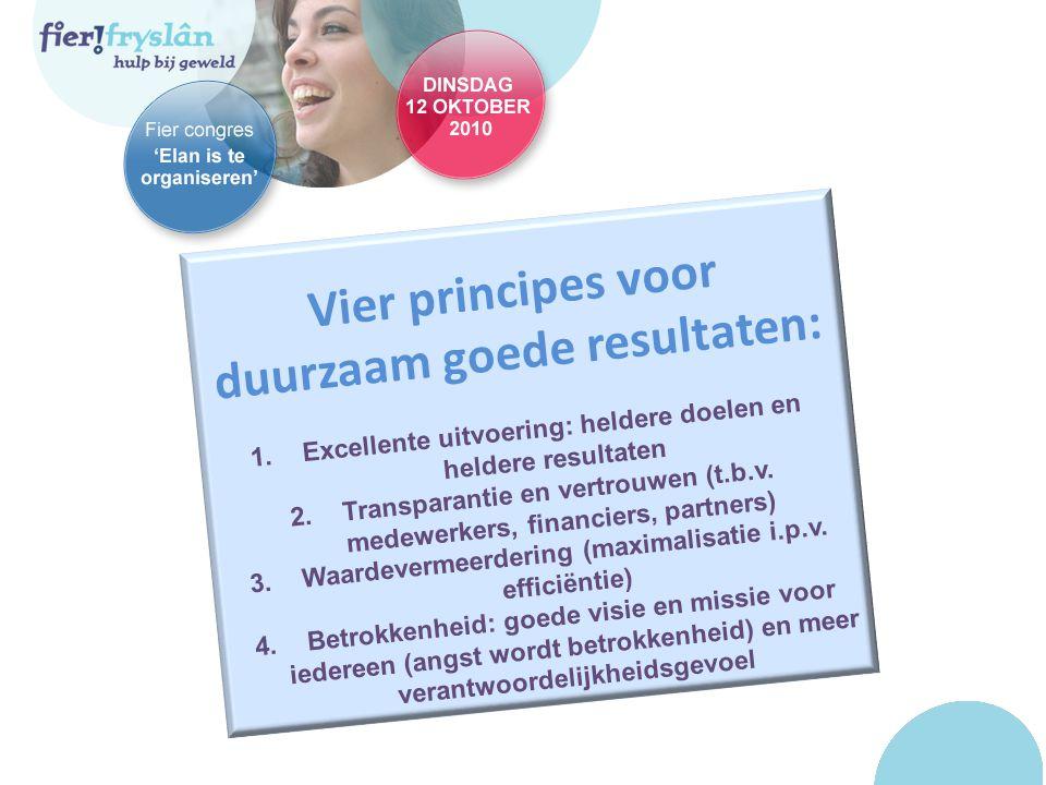 Vier principes voor duurzaam goede resultaten: 1.Excellente uitvoering: heldere doelen en heldere resultaten 2.Transparantie en vertrouwen (t.b.v.