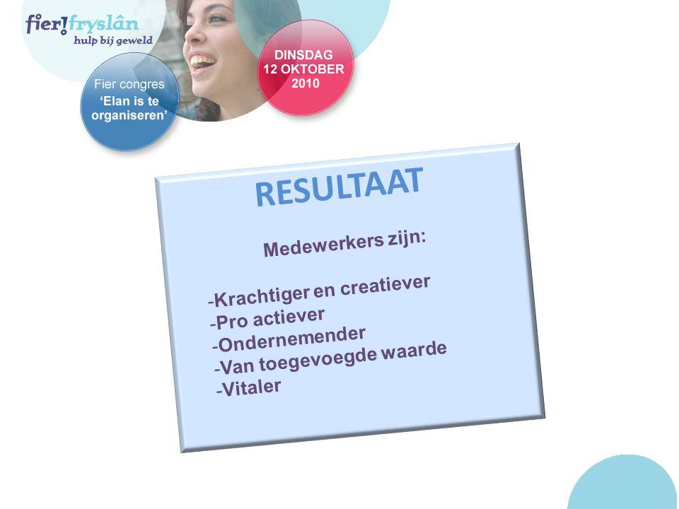 RESULTAAT Medewerkers zijn: -Krachtiger en creatiever -Pro actiever -Ondernemender -Van toegevoegde waarde -Vitaler