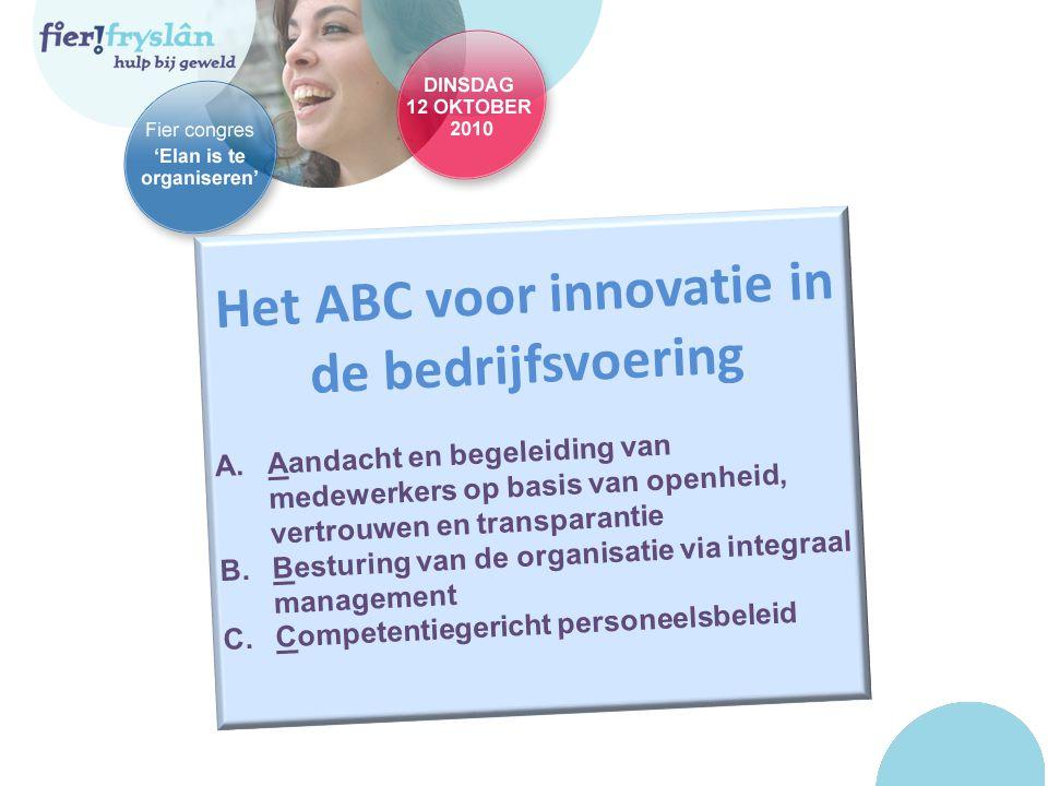 Het ABC voor innovatie in de bedrijfsvoering A.Aandacht en begeleiding van medewerkers op basis van openheid, vertrouwen en transparantie B.Besturing van de organisatie via integraal management C.Competentiegericht personeelsbeleid