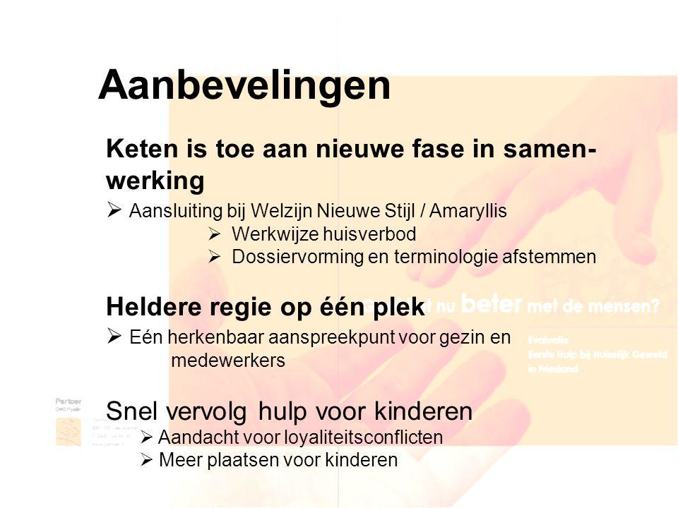 Aanbevelingen Keten is toe aan nieuwe fase in samen- werking  Aansluiting bij Welzijn Nieuwe Stijl / Amaryllis  Werkwijze huisverbod  Dossiervormin