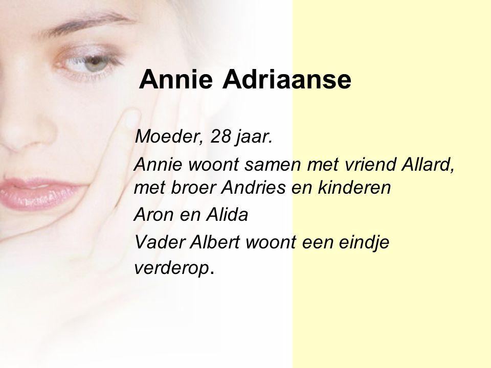 Annie Adriaanse Moeder, 28 jaar. Annie woont samen met vriend Allard, met broer Andries en kinderen Aron en Alida Vader Albert woont een eindje verder