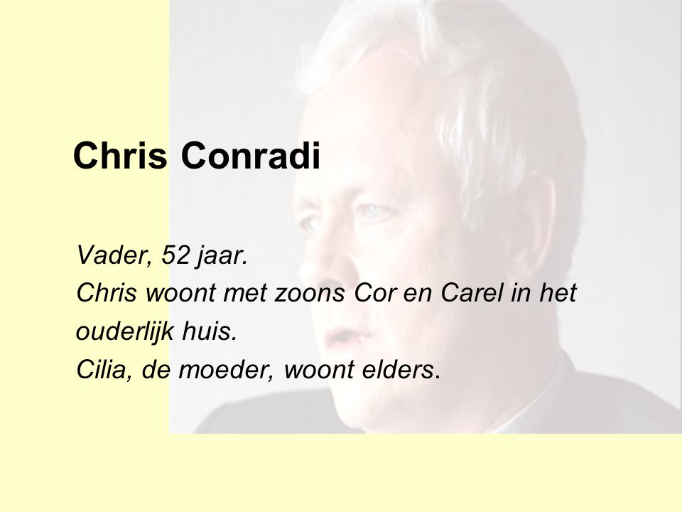 Chris Conradi Vader, 52 jaar. Chris woont met zoons Cor en Carel in het ouderlijk huis. Cilia, de moeder, woont elders.