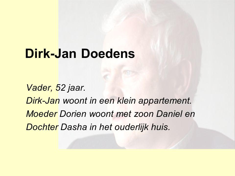 Dirk-Jan Doedens Vader, 52 jaar. Dirk-Jan woont in een klein appartement. Moeder Dorien woont met zoon Daniel en Dochter Dasha in het ouderlijk huis.
