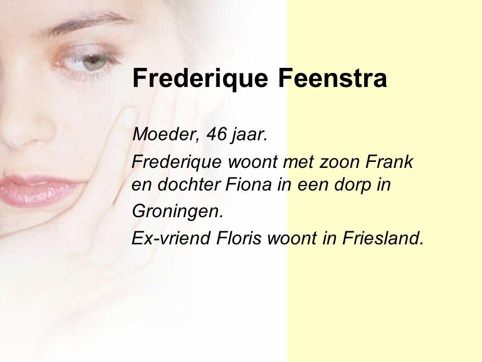Frederique Feenstra Moeder, 46 jaar. Frederique woont met zoon Frank en dochter Fiona in een dorp in Groningen. Ex-vriend Floris woont in Friesland.