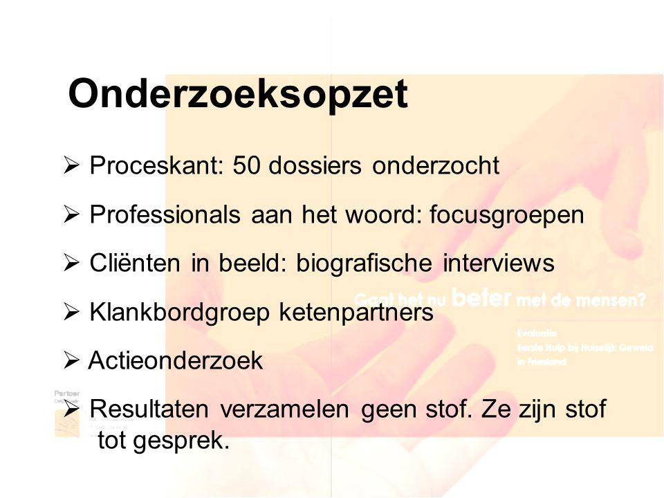 Onderzoeksopzet  Proceskant: 50 dossiers onderzocht  Professionals aan het woord: focusgroepen  Cliënten in beeld: biografische interviews  Klankb
