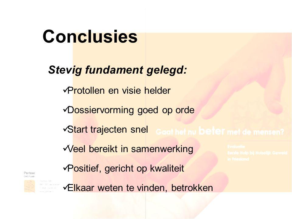 Conclusies Stevig fundament gelegd: Protollen en visie helder Dossiervorming goed op orde Start trajecten snel Veel bereikt in samenwerking Positief,
