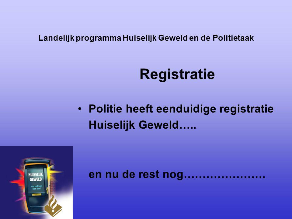 Landelijk programma Huiselijk Geweld en de Politietaak Registratie Politie heeft eenduidige registratie Huiselijk Geweld….. en nu de rest nog………………….