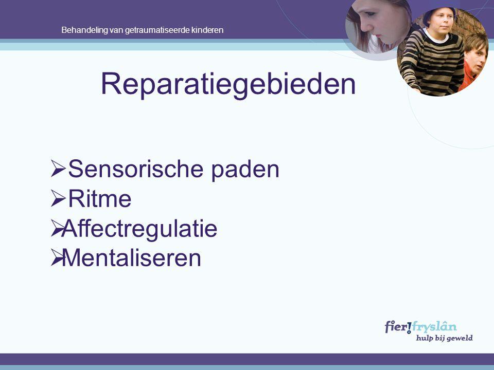Behandeling van getraumatiseerde kinderen Reparatiegebieden  Sensorische paden  Ritme  Affectregulatie  Mentaliseren.