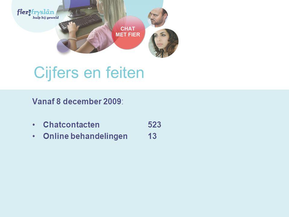Cijfers en feiten Vanaf 8 december 2009: Chatcontacten523 Online behandelingen13