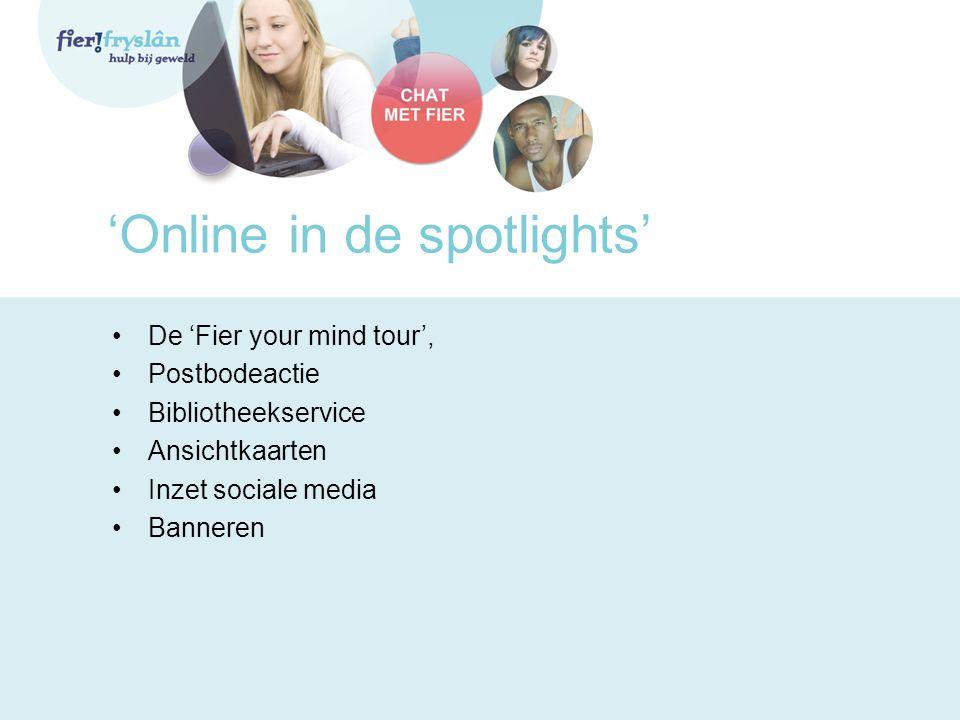 'Online in de spotlights' De 'Fier your mind tour', Postbodeactie Bibliotheekservice Ansichtkaarten Inzet sociale media Banneren