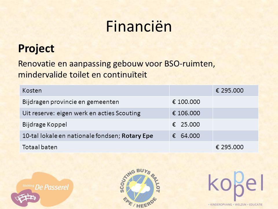 Financiën Project Renovatie en aanpassing gebouw voor BSO-ruimten, mindervalide toilet en continuïteit Kosten€ 295.000 Bijdragen provincie en gemeente