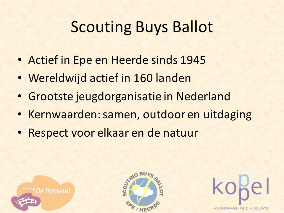 Scouting Buys Ballot Actief in Epe en Heerde sinds 1945 Wereldwijd actief in 160 landen Grootste jeugdorganisatie in Nederland Kernwaarden: samen, out