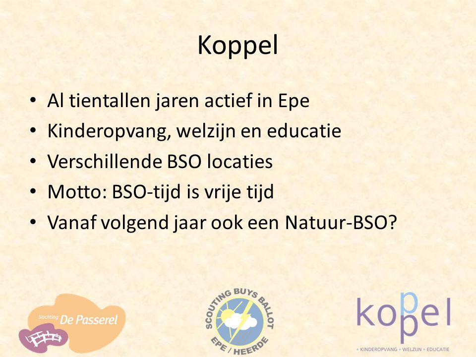Koppel Al tientallen jaren actief in Epe Kinderopvang, welzijn en educatie Verschillende BSO locaties Motto: BSO-tijd is vrije tijd Vanaf volgend jaar ook een Natuur-BSO?